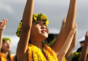 Hula dancer with leis